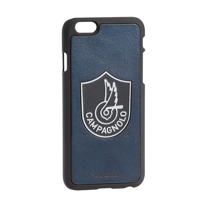 Cover in pelle blu e metallo per Iphone 6/6S