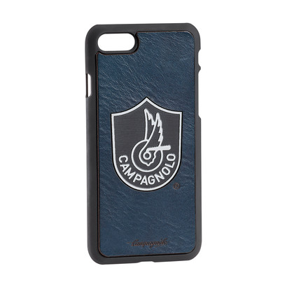 Cover in pelle blu e metallo per Iphone 7/8